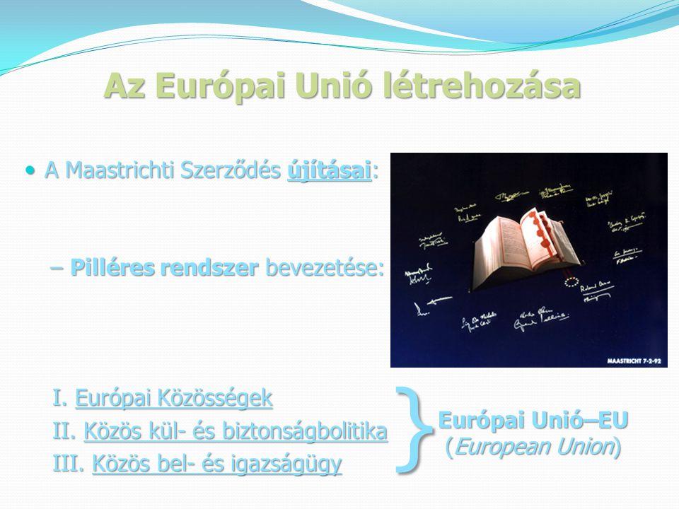 Az Európai Unió létrehozása  A Maastrichti Szerződés újításai: – Pilléres rendszer bevezetése: – Pilléres rendszer bevezetése: I.