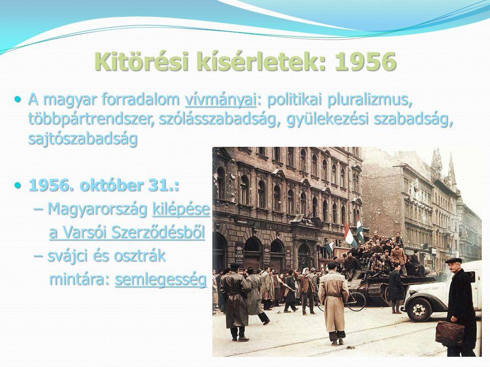 Kitörési kísérletek: 1956  A magyar forradalom vívmányai: politikai pluralizmus, többpártrendszer, szólásszabadság, gyülekezési szabadság, sajtószabadság  1956.