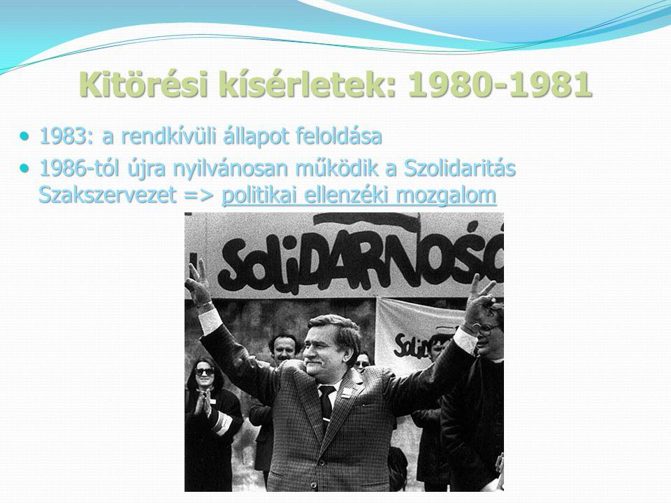 Kitörési kísérletek: 1980-1981  1983: a rendkívüli állapot feloldása  1986-tól újra nyilvánosan működik a Szolidaritás Szakszervezet => politikai ellenzéki mozgalom