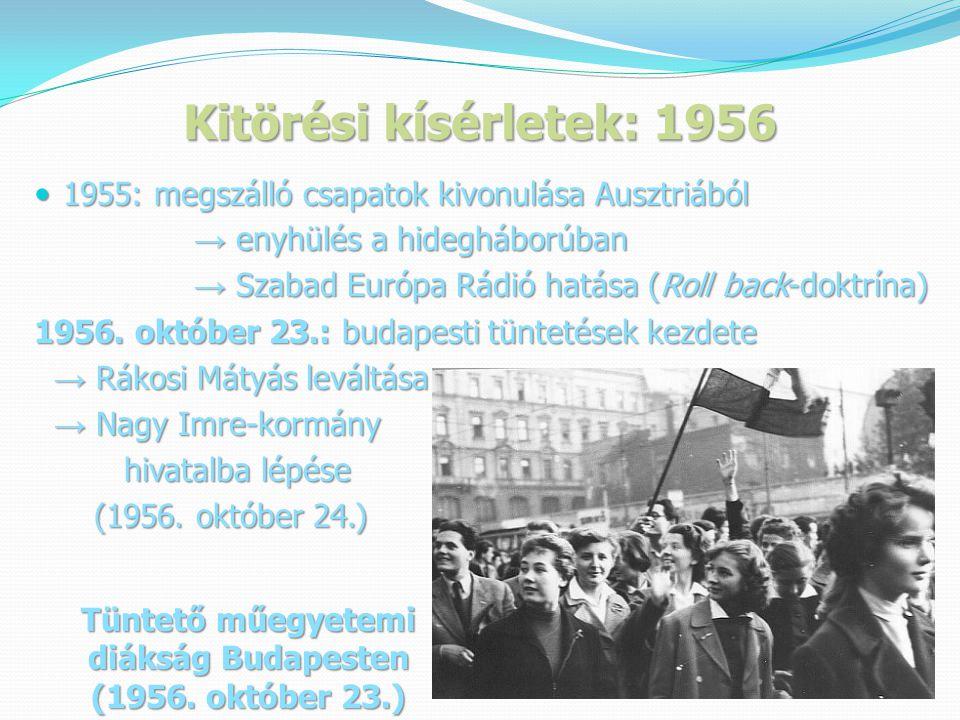 Kitörési kísérletek: 1956  1955: megszálló csapatok kivonulása Ausztriából → enyhülés a hidegháborúban → enyhülés a hidegháborúban → Szabad Európa Rádió hatása (Roll back-doktrína) → Szabad Európa Rádió hatása (Roll back-doktrína) 1956.