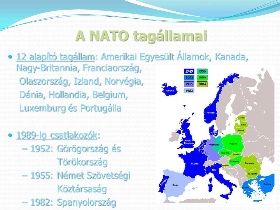 A NATO tagállamai  12 alapító tagállam: Amerikai Egyesült Államok, Kanada, Nagy-Britannia, Franciaország, Olaszország, Izland, Norvégia, Olaszország, Izland, Norvégia, Dánia, Hollandia, Belgium, Dánia, Hollandia, Belgium, Luxemburg és Portugália Luxemburg és Portugália  1989-ig csatlakozók: – 1952: Görögország és – 1952: Görögország és Törökország Törökország – 1955: Német Szövetségi – 1955: Német Szövetségi Köztársaság Köztársaság – 1982: Spanyolország – 1982: Spanyolország