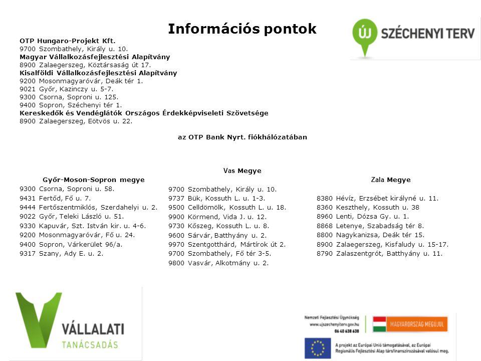 Információs pontok OTP Hungaro-Projekt Kft. 9700 Szombathely, Király u.
