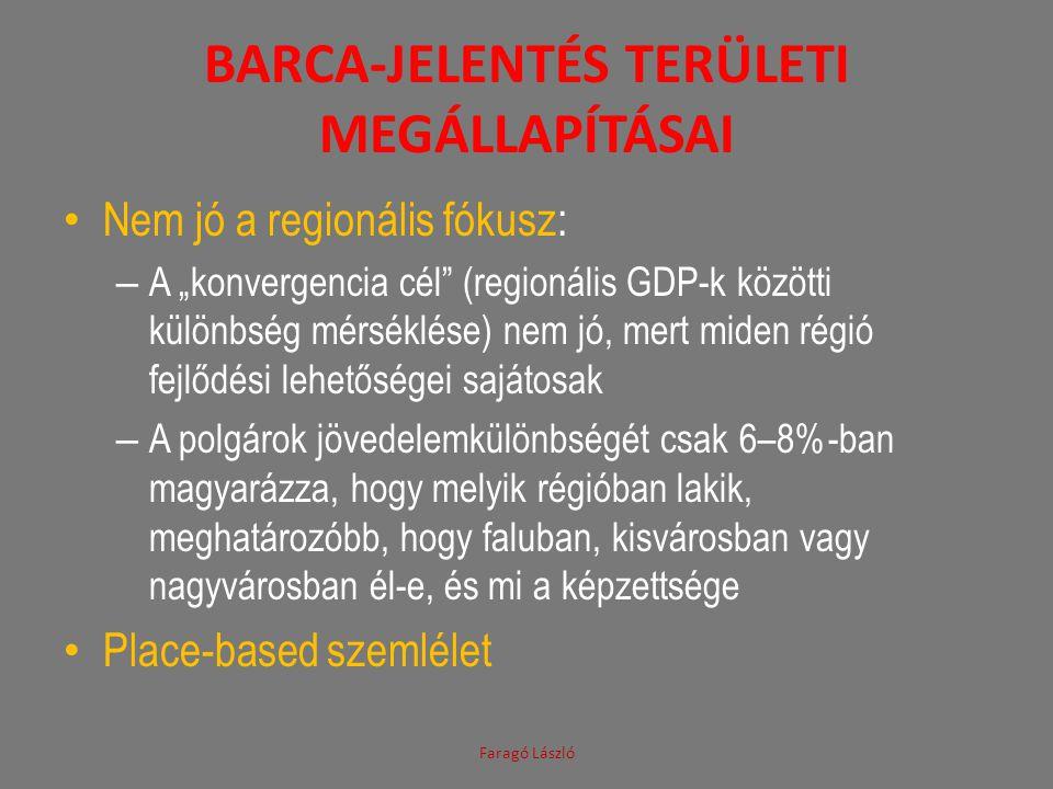 """BARCA-JELENTÉS TERÜLETI MEGÁLLAPÍTÁSAI • Nem jó a regionális fókusz: – A """"konvergencia cél"""" (regionális GDP-k közötti különbség mérséklése) nem jó, me"""