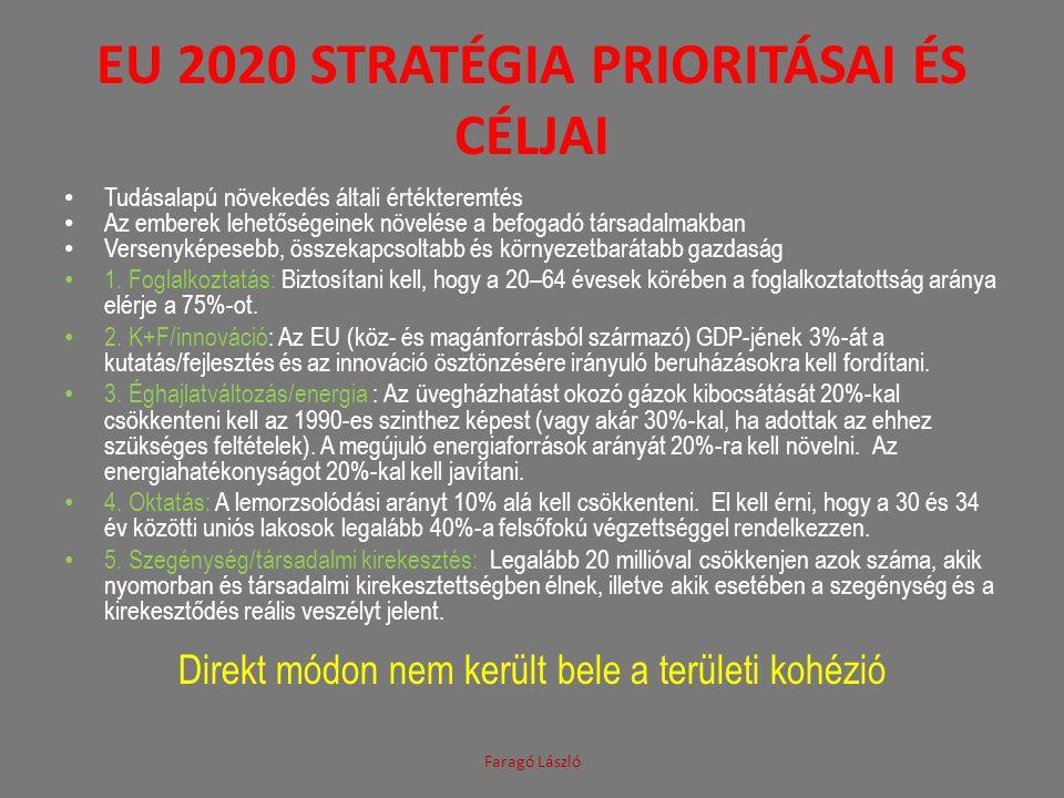EU 2020 STRATÉGIA PRIORITÁSAI ÉS CÉLJAI • Tudásalapú növekedés általi értékteremtés • Az emberek lehetőségeinek növelése a befogadó társadalmakban • V