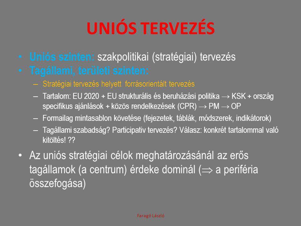 UNIÓS TERVEZÉS • Uniós szinten: szakpolitikai (stratégiai) tervezés • Tagállami, területi szinten: – Stratégiai tervezés helyett forrásorientált terve