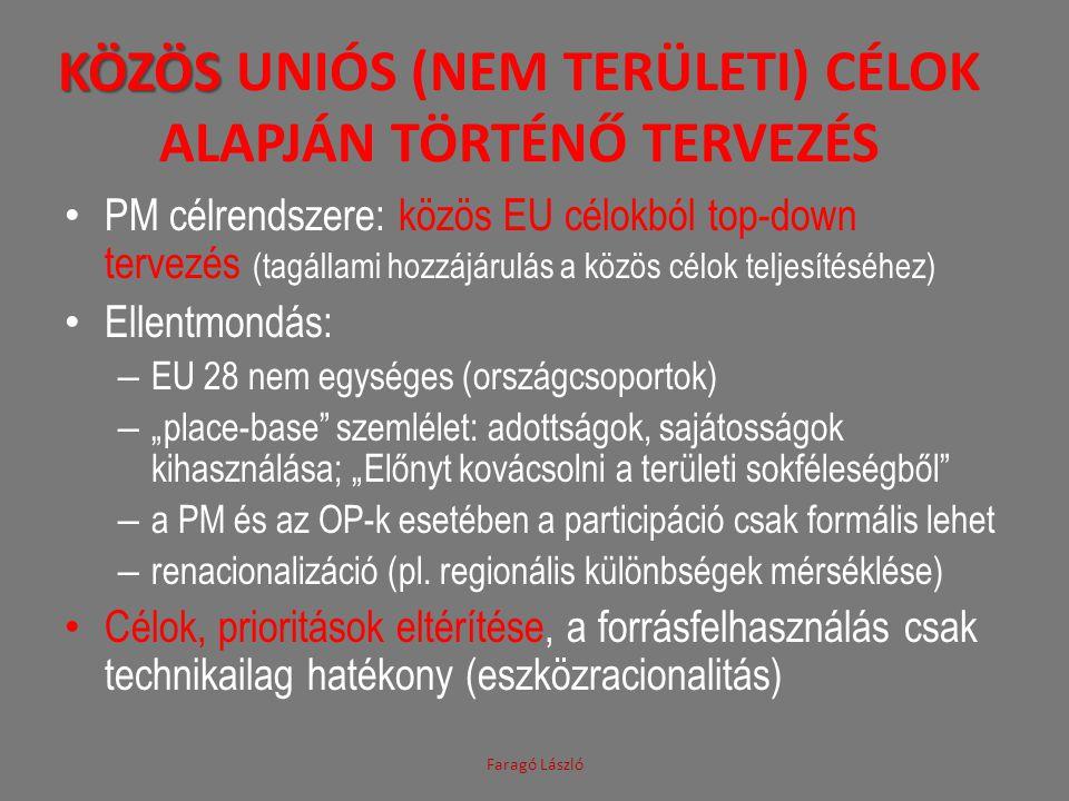 KÖZÖS KÖZÖS UNIÓS (NEM TERÜLETI) CÉLOK ALAPJÁN TÖRTÉNŐ TERVEZÉS • PM célrendszere: közös EU célokból top-down tervezés (tagállami hozzájárulás a közös