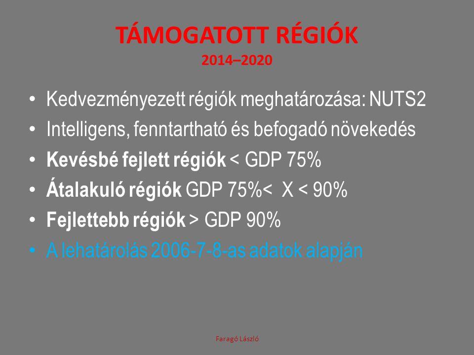 TÁMOGATOTT RÉGIÓK 2014–2020 • Kedvezményezett régiók meghatározása: NUTS2 • Intelligens, fenntartható és befogadó növekedés • Kevésbé fejlett régiók <