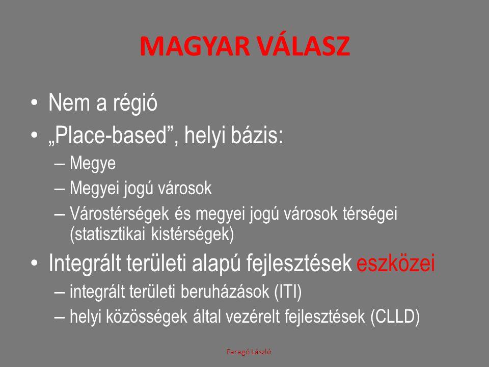 """MAGYAR VÁLASZ • Nem a régió • """"Place-based"""", helyi bázis: – Megye – Megyei jogú városok – Várostérségek és megyei jogú városok térségei (statisztikai"""