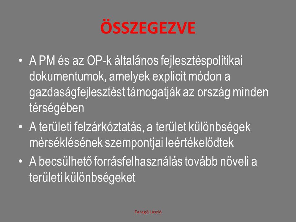 ÖSSZEGEZVE • A PM és az OP-k általános fejlesztéspolitikai dokumentumok, amelyek explicit módon a gazdaságfejlesztést támogatják az ország minden térs