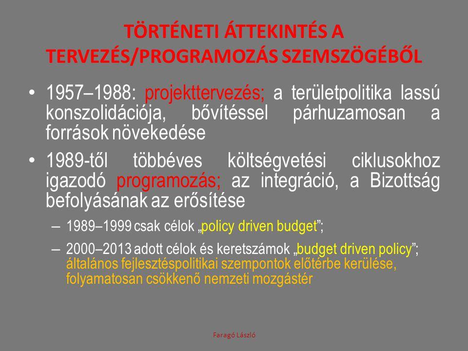 TÖRTÉNETI ÁTTEKINTÉS A TERVEZÉS/PROGRAMOZÁS SZEMSZÖGÉBŐL • 1957–1988: projekttervezés; a területpolitika lassú konszolidációja, bővítéssel párhuzamosa