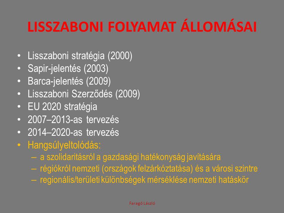 LISSZABONI FOLYAMAT ÁLLOMÁSAI • Lisszaboni stratégia (2000) • Sapir-jelentés (2003) • Barca-jelentés (2009) • Lisszaboni Szerződés (2009) • EU 2020 st