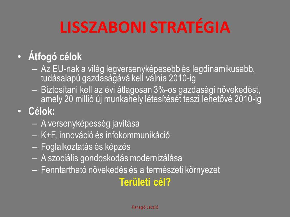 LISSZABONI STRATÉGIA • Átfogó célok – Az EU-nak a világ legversenyképesebb és legdinamikusabb, tudásalapú gazdaságává kell válnia 2010-ig – Biztosítan