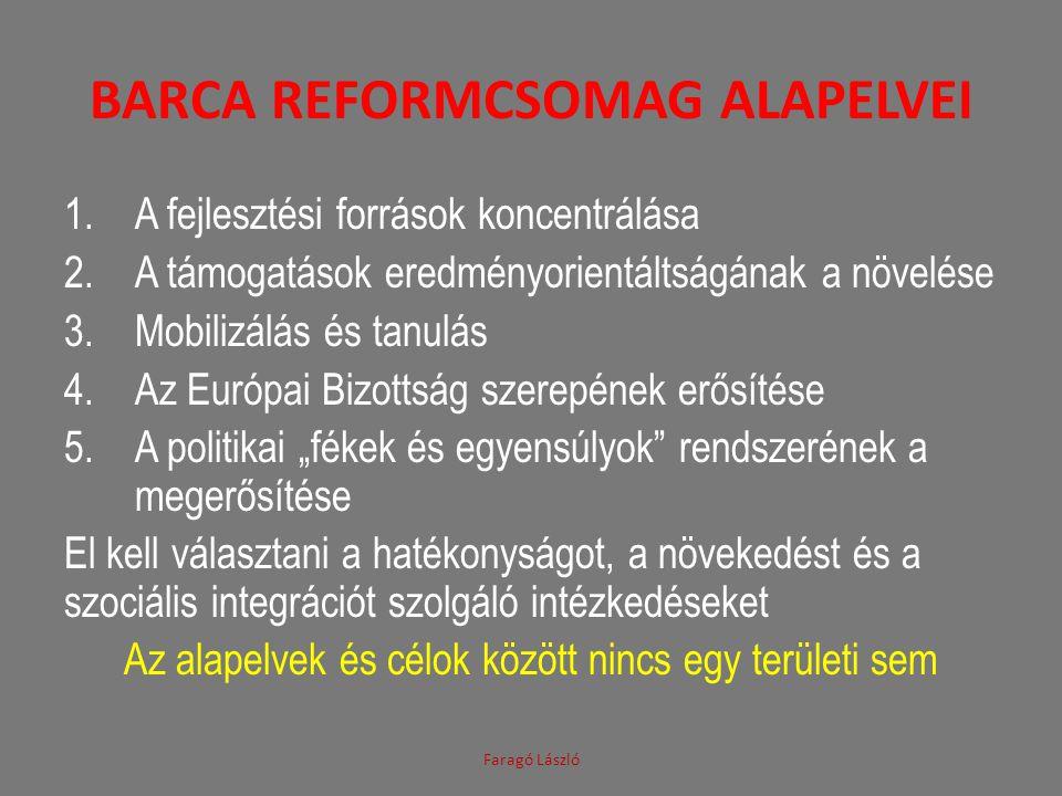 BARCA REFORMCSOMAG ALAPELVEI 1.A fejlesztési források koncentrálása 2.A támogatások eredményorientáltságának a növelése 3.Mobilizálás és tanulás 4.Az