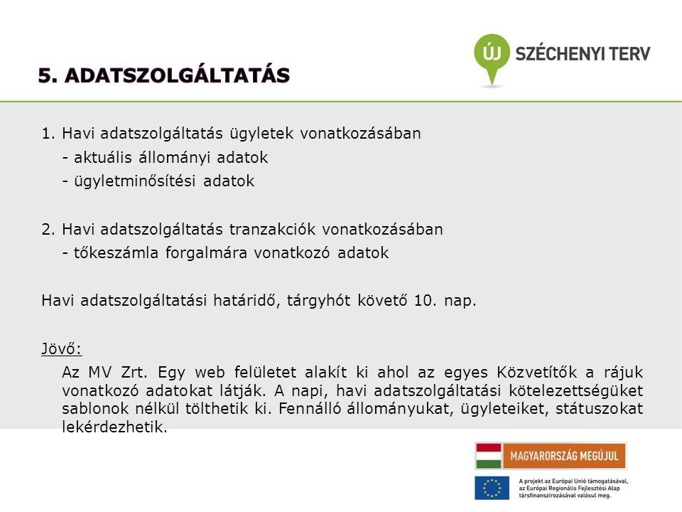1. Havi adatszolgáltatás ügyletek vonatkozásában - aktuális állományi adatok - ügyletminősítési adatok 2. Havi adatszolgáltatás tranzakciók vonatkozás