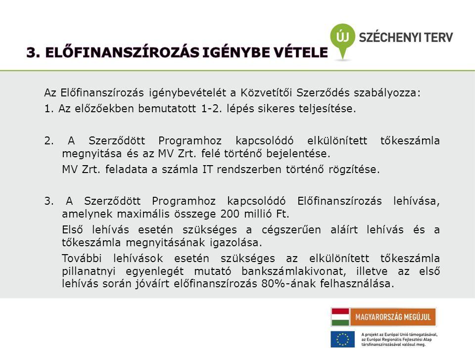Az Előfinanszírozás igénybevételét a Közvetítői Szerződés szabályozza: 1. Az előzőekben bemutatott 1-2. lépés sikeres teljesítése. 2. A Szerződött Pro