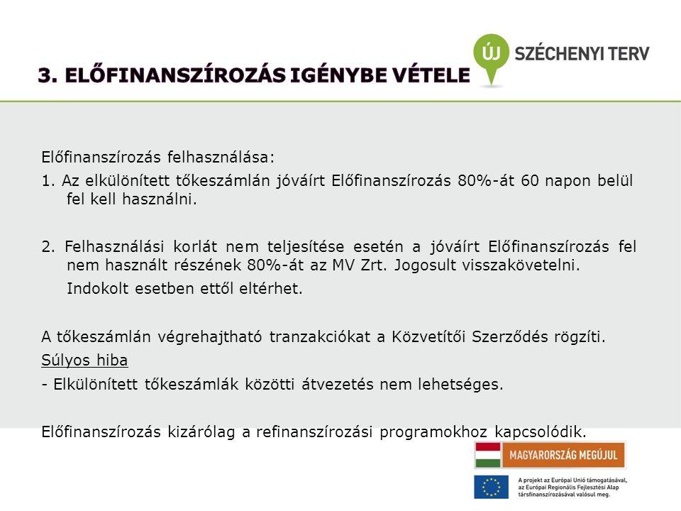 Előfinanszírozás felhasználása: 1. Az elkülönített tőkeszámlán jóváírt Előfinanszírozás 80%-át 60 napon belül fel kell használni. 2. Felhasználási kor