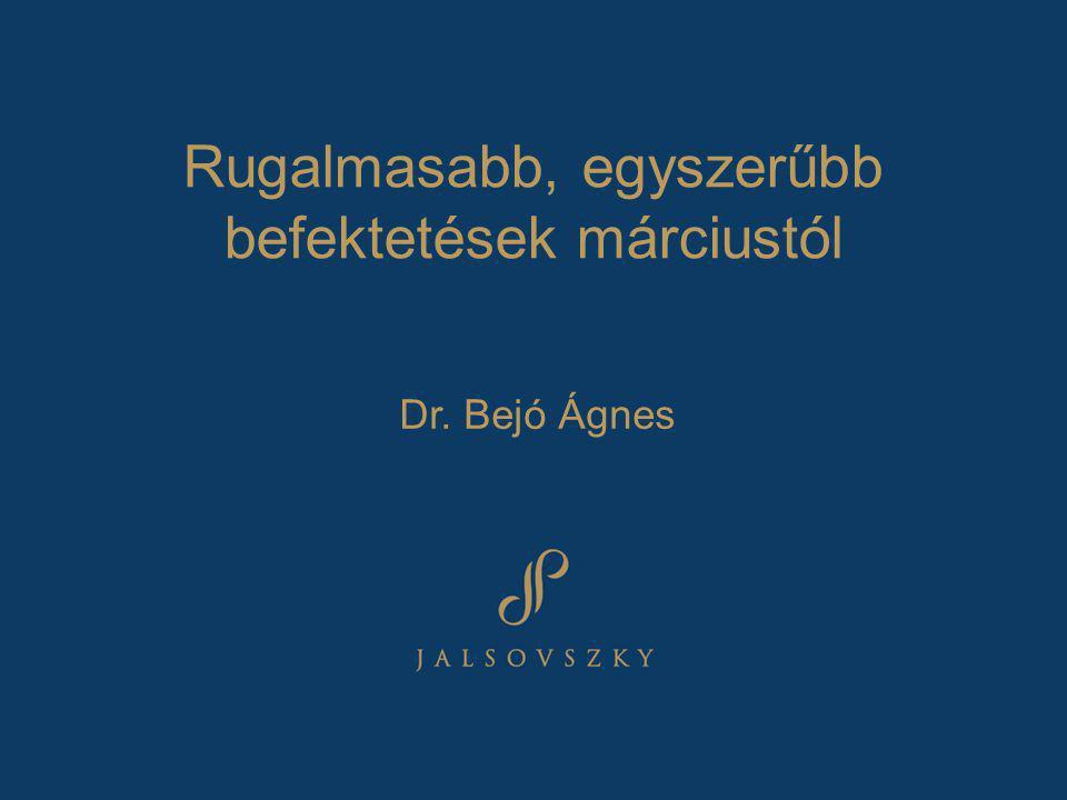Rugalmasabb, egyszerűbb befektetések márciustól Dr. Bejó Ágnes