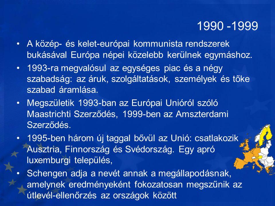 1990 -1999 •A közép- és kelet-európai kommunista rendszerek bukásával Európa népei közelebb kerülnek egymáshoz. •1993-ra megvalósul az egységes piac é