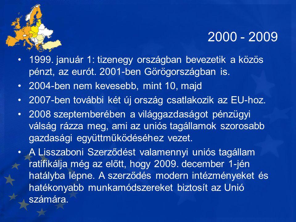 2000 - 2009 •1999. január 1: tizenegy országban bevezetik a közös pénzt, az eurót. 2001-ben Görögországban is. •2004-ben nem kevesebb, mint 10, majd •