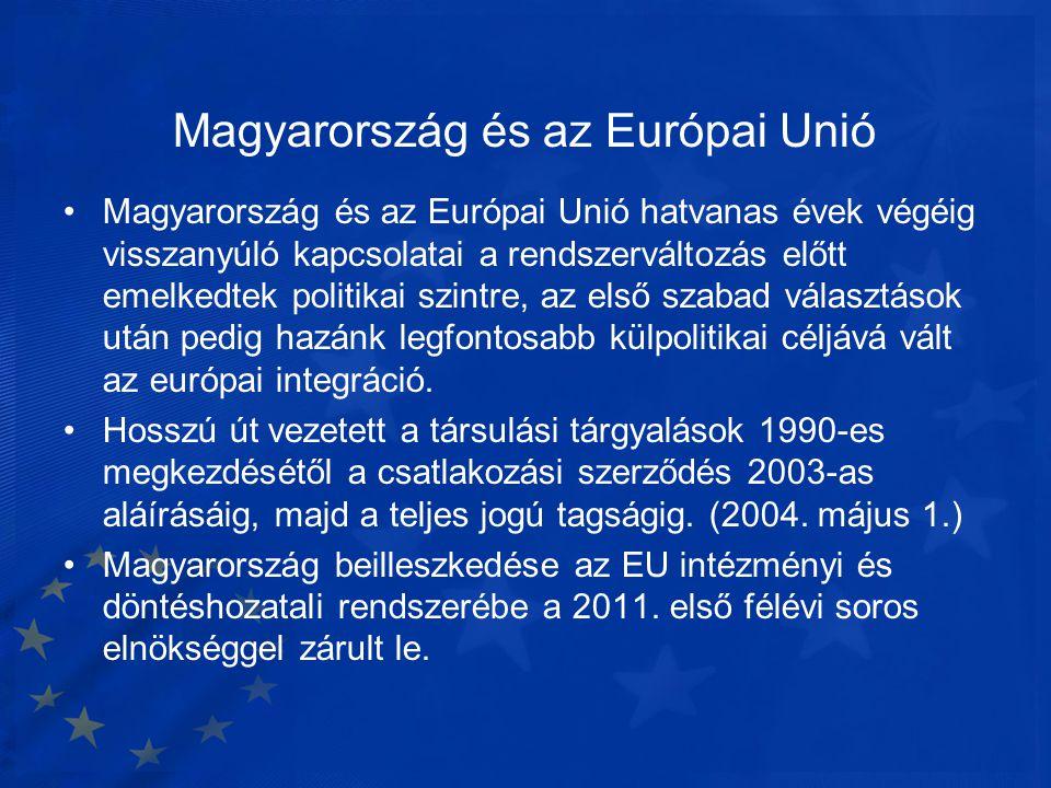 Magyarország és az Európai Unió •Magyarország és az Európai Unió hatvanas évek végéig visszanyúló kapcsolatai a rendszerváltozás előtt emelkedtek poli
