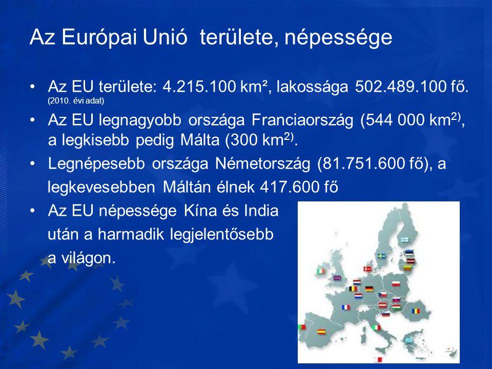 Az Európai Unió területe, népessége •Az EU területe: 4.215.100 km², lakossága 502.489.100 fő. (2010. évi adat) •Az EU legnagyobb országa Franciaország