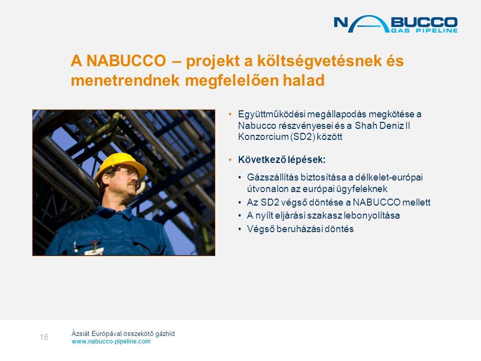 Ázsiát Európával összekötő gázhíd www.nabucco-pipeline.com A NABUCCO – projekt a költségvetésnek és menetrendnek megfelelően halad •Együttműködési meg