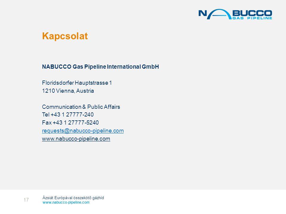 Ázsiát Európával összekötő gázhíd www.nabucco-pipeline.com Kapcsolat NABUCCO Gas Pipeline International GmbH Floridsdorfer Hauptstrasse 1 1210 Vienna,