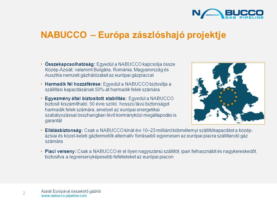 Ázsiát Európával összekötő gázhíd www.nabucco-pipeline.com Kormányközi Megállapodás Projektspecifikus, és teljes összhangban van az európai szabályozással Projekt-támogatási megállapodás Felügyeli a mentességeket és a kormányközi megállapodáshoz kötődő jogokat Kiterjeszti az állami könnyítési kötelezettségeket EU gáz direktívája alóli mentesség 100 % ár, 100 % szerződéses feltételek, 50 % kapacitás elosztás NABUCCO – egyedülálló tranzit keretrendszer A NABUCCO harmonizált szabályozói és jogi kerettel rendelkezik, amely kiszámítható és átlátható tranzit rendszert biztosít az egész útvonalra.