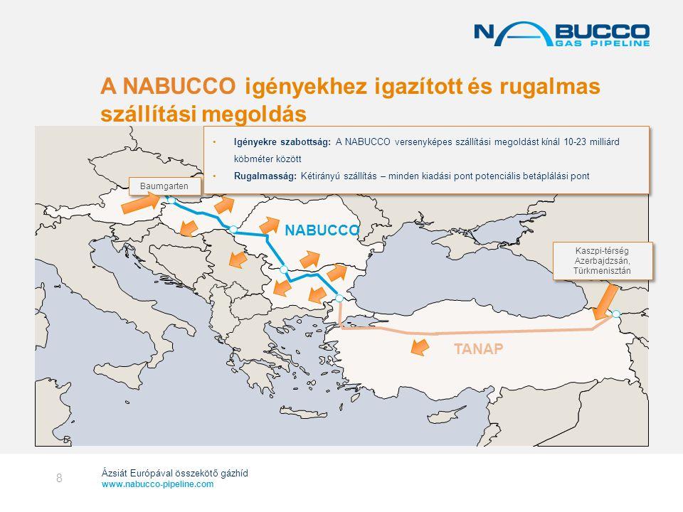 Ázsiát Európával összekötő gázhíd www.nabucco-pipeline.com Gas supply from Russia (as % of total consumption) Forrás: ENTSOG HORVÁT ORSZÁG MONTE- NEGRO Bukarest Budapest Baumgarten Bécs Szófia MACEDÓNIA AL- BÁ- NIA GÖRÖGORSZÁG MOLDOVA KOSZOVÓ NÉMETORSZÁG CSEH- ORSZÁG SZLOVÁKIA ROMÁNIA MAGYARORSZÁG AUSZTRIA BULGÁRIA TÖRÖKORSZÁG LENGYELORSZÁG OLASZORSZÁG SZLOVÉNIA BOSZNIA- HERCEGOVINA SZERBIA Meglévő közvetlen összeköttetések Lehetséges összekötőpontok SLOVAKIA MONTE- NEGRO UKRAINE Bucharest Budapest Sofia MOLDOVA KOSOVO Orosz import (a teljes fogyasztás %-ban) 27% 52% 37% 100% 49% 87% 27% 92% 100% 76% 60% Orosz gázfüggőség százalékos megoszlásban 9