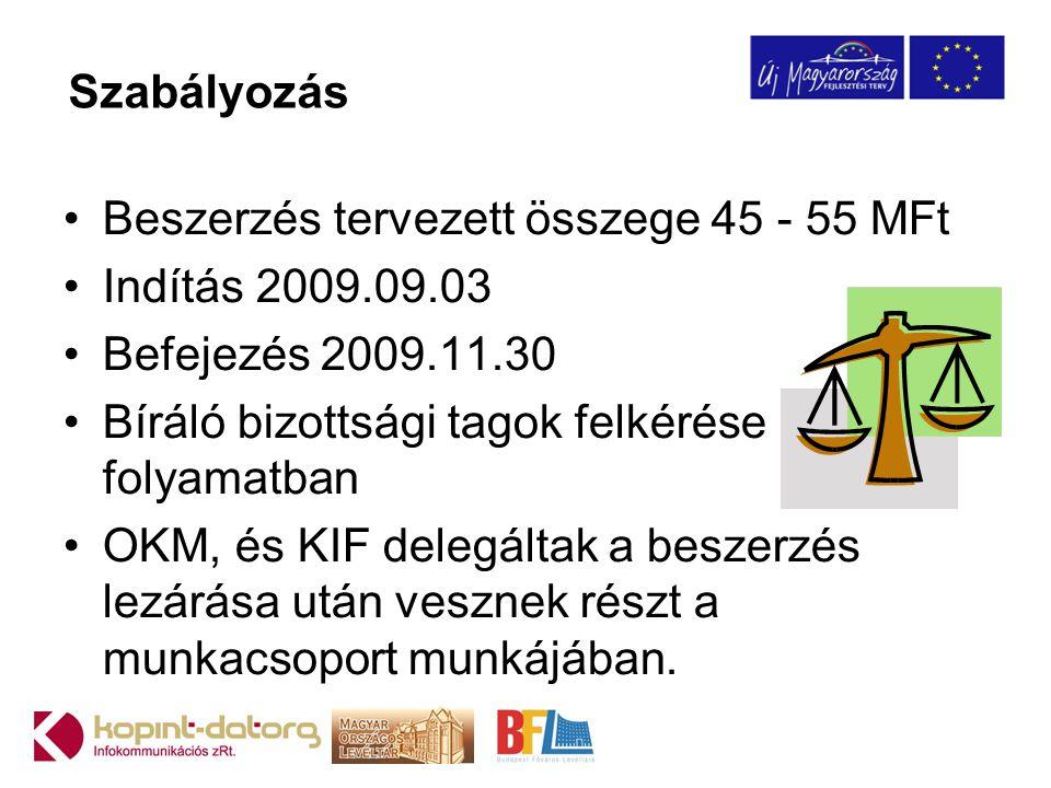 Szabályozás •Beszerzés tervezett összege 45 - 55 MFt •Indítás 2009.09.03 •Befejezés 2009.11.30 •Bíráló bizottsági tagok felkérése folyamatban •OKM, és