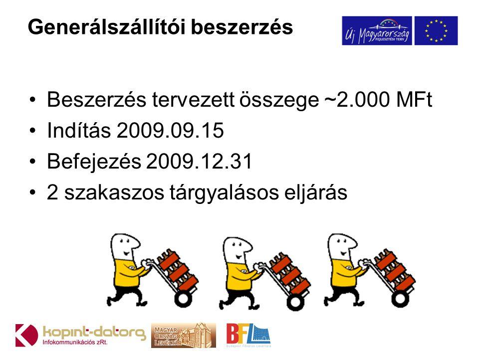 Generálszállítói beszerzés •Beszerzés tervezett összege ~2.000 MFt •Indítás 2009.09.15 •Befejezés 2009.12.31 •2 szakaszos tárgyalásos eljárás