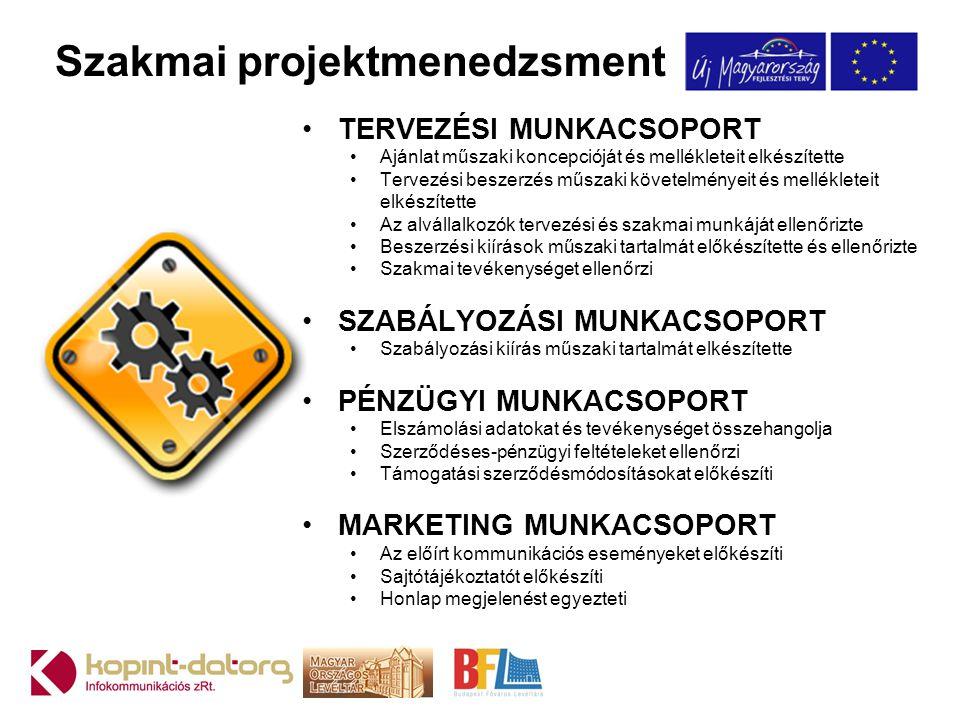Szakmai projektmenedzsment •TERVEZÉSI MUNKACSOPORT •Ajánlat műszaki koncepcióját és mellékleteit elkészítette •Tervezési beszerzés műszaki követelmény