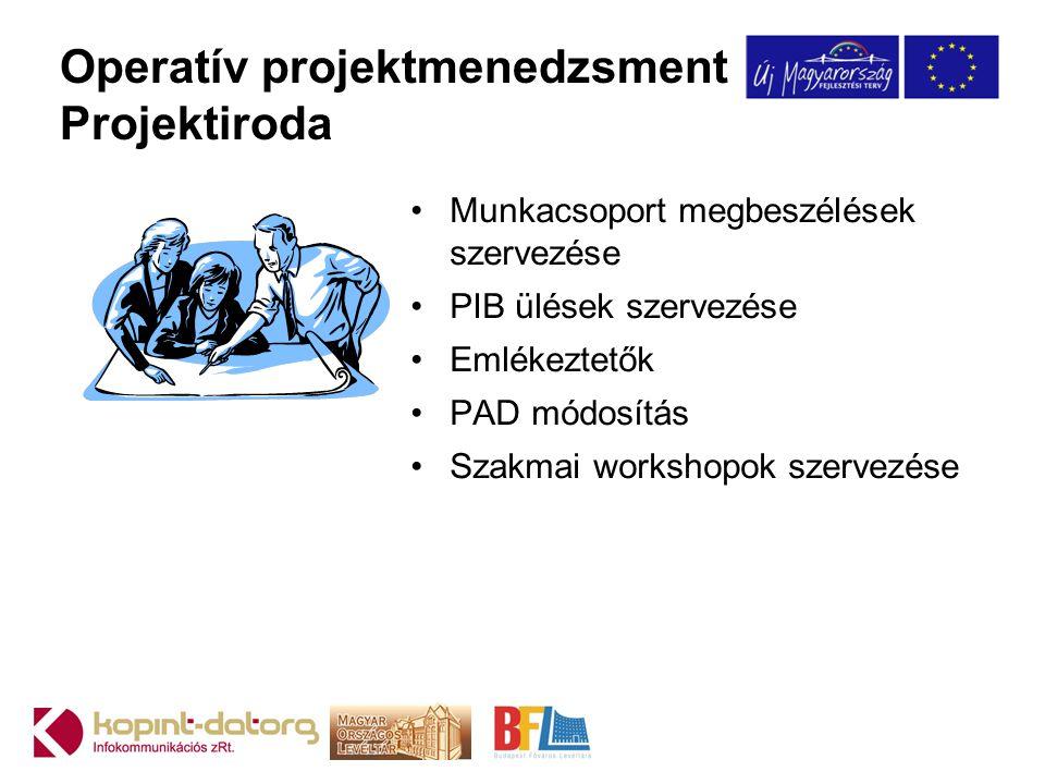 Operatív projektmenedzsment Projektiroda •Munkacsoport megbeszélések szervezése •PIB ülések szervezése •Emlékeztetők •PAD módosítás •Szakmai workshopo