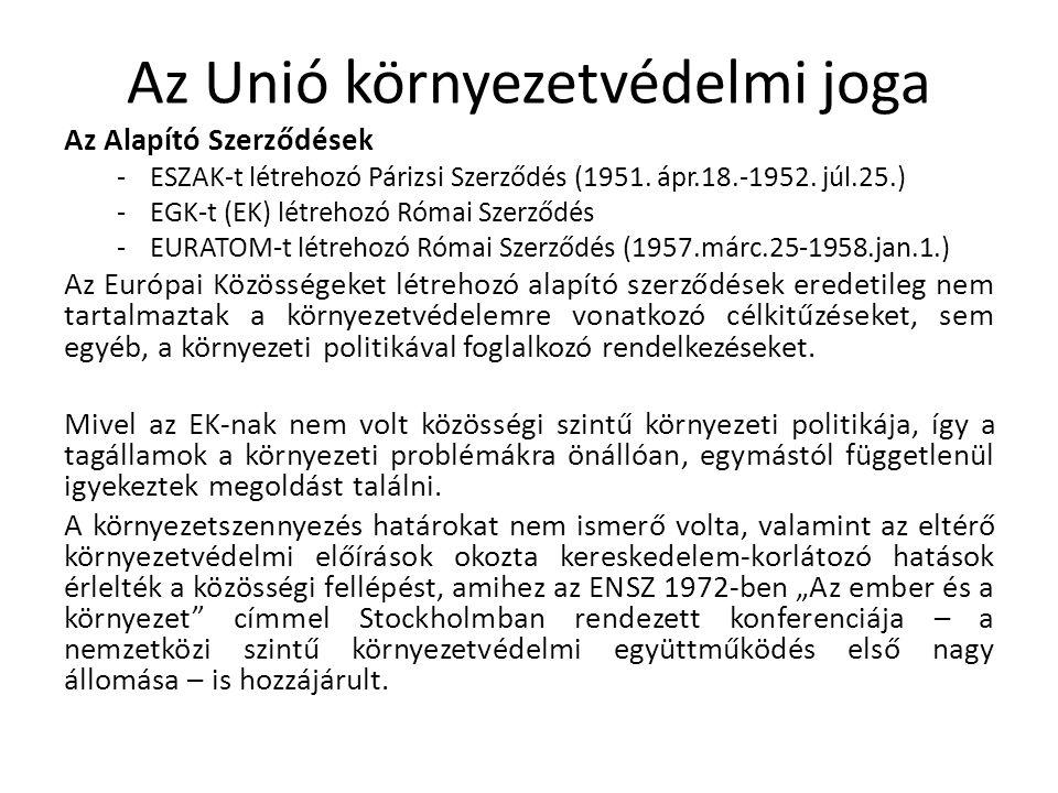 Az Unió környezetvédelmi joga Az Alapító Szerződések -ESZAK-t létrehozó Párizsi Szerződés (1951.