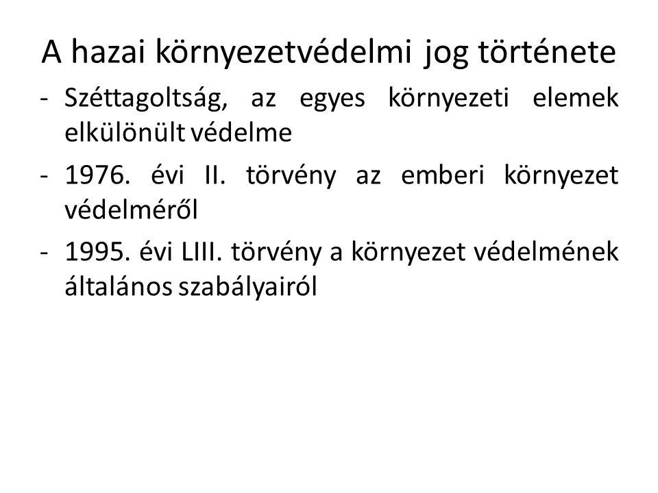 A hazai környezetvédelmi jog története -Széttagoltság, az egyes környezeti elemek elkülönült védelme -1976.