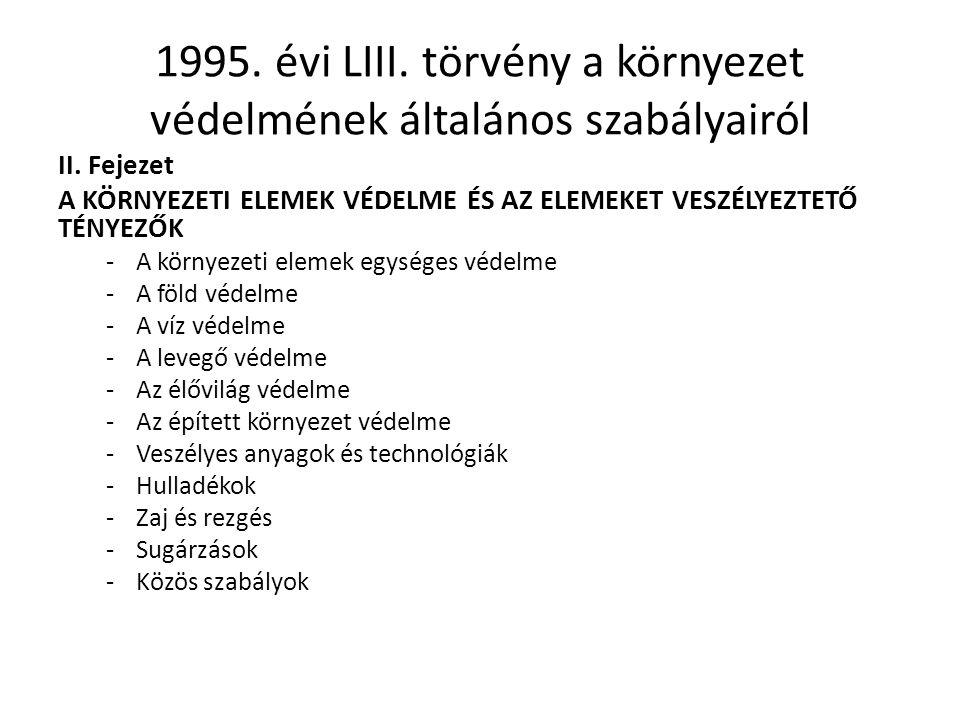 1995.évi LIII. törvény a környezet védelmének általános szabályairól II.