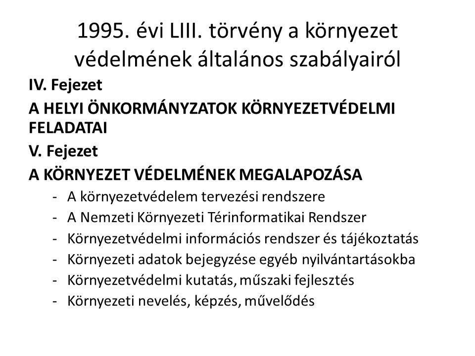 1995.évi LIII. törvény a környezet védelmének általános szabályairól IV.