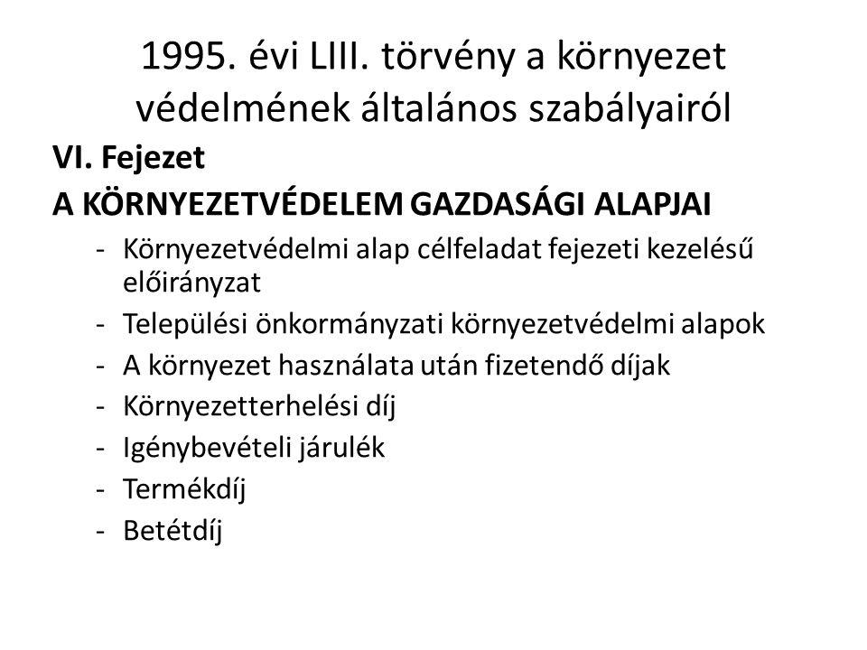 1995.évi LIII. törvény a környezet védelmének általános szabályairól VI.