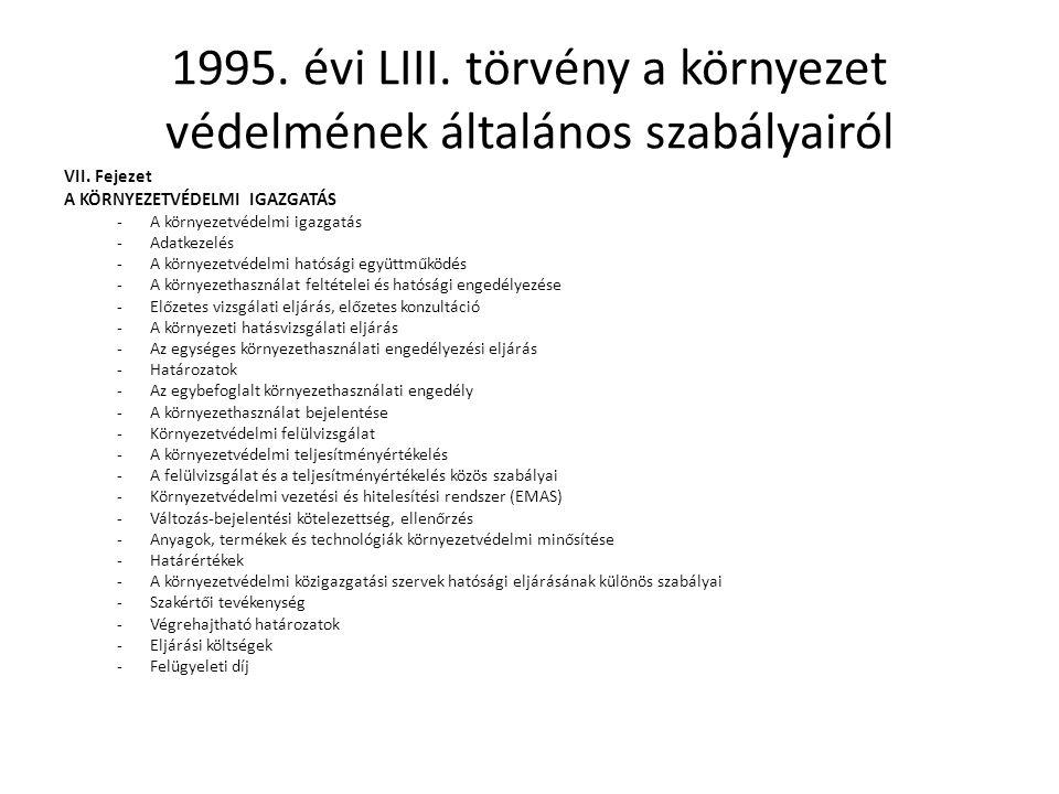 1995.évi LIII. törvény a környezet védelmének általános szabályairól VII.
