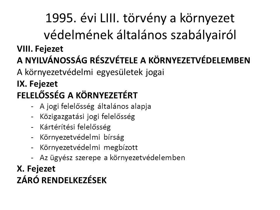 1995.évi LIII. törvény a környezet védelmének általános szabályairól VIII.