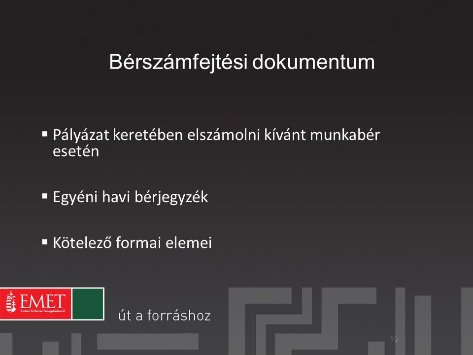 Bérszámfejtési dokumentum  Pályázat keretében elszámolni kívánt munkabér esetén  Egyéni havi bérjegyzék  Kötelező formai elemei 15