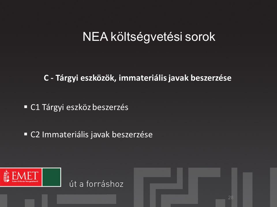 NEA költségvetési sorok C - Tárgyi eszközök, immateriális javak beszerzése  C1 Tárgyi eszköz beszerzés  C2 Immateriális javak beszerzése 28