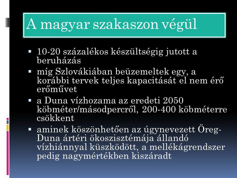 A magyar szakaszon végül  10-20 százalékos készültségig jutott a beruházás  míg Szlovákiában beüzemeltek egy, a korábbi tervek teljes kapacitását el nem érő erőművet  a Duna vízhozama az eredeti 2050 köbméter/másodpercről, 200-400 köbméterre csökkent  aminek köszönhetően az úgynevezett Öreg- Duna ártéri ökoszisztémája állandó vízhiánnyal küszködött, a mellékágrendszer pedig nagymértékben kiszáradt