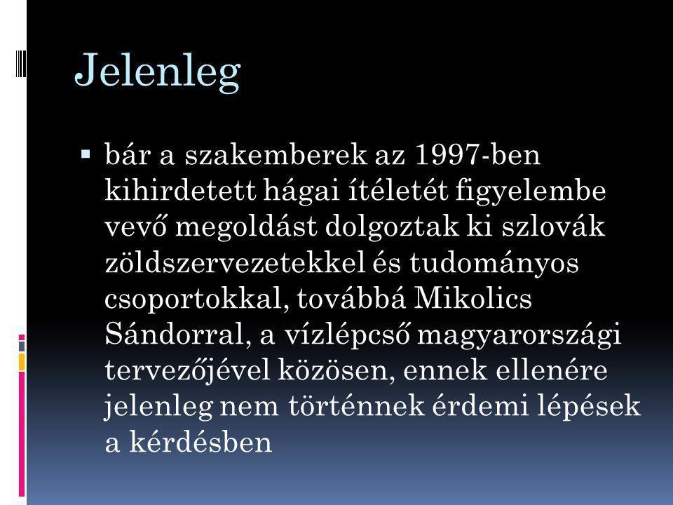 Jelenleg  bár a szakemberek az 1997-ben kihirdetett hágai ítéletét figyelembe vevő megoldást dolgoztak ki szlovák zöldszervezetekkel és tudományos csoportokkal, továbbá Mikolics Sándorral, a vízlépcső magyarországi tervezőjével közösen, ennek ellenére jelenleg nem történnek érdemi lépések a kérdésben