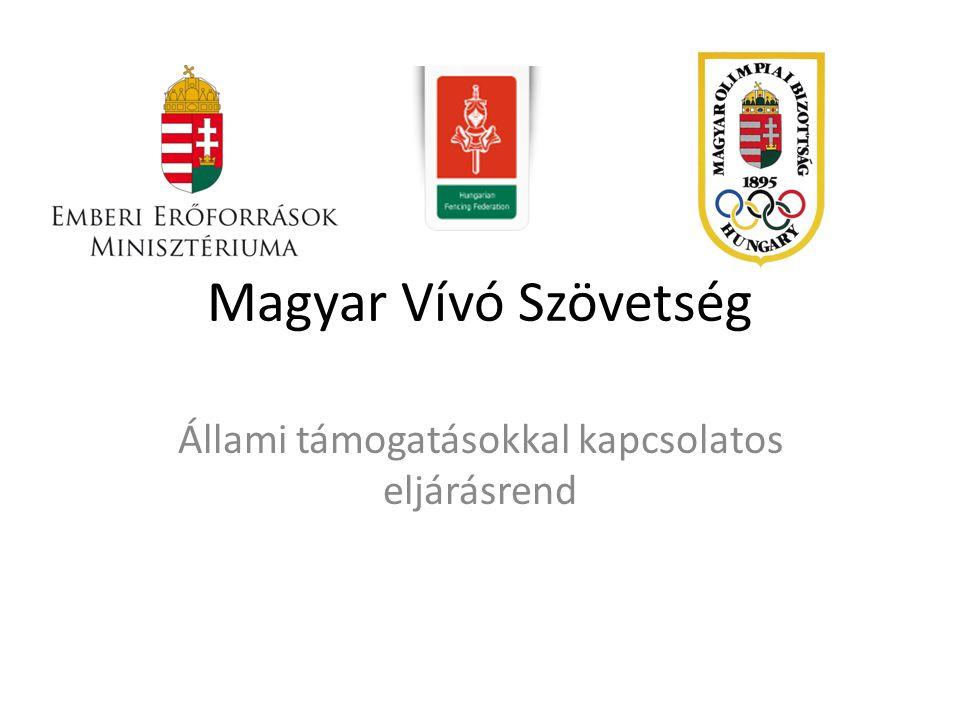 Magyar Vívó Szövetség Állami támogatásokkal kapcsolatos eljárásrend