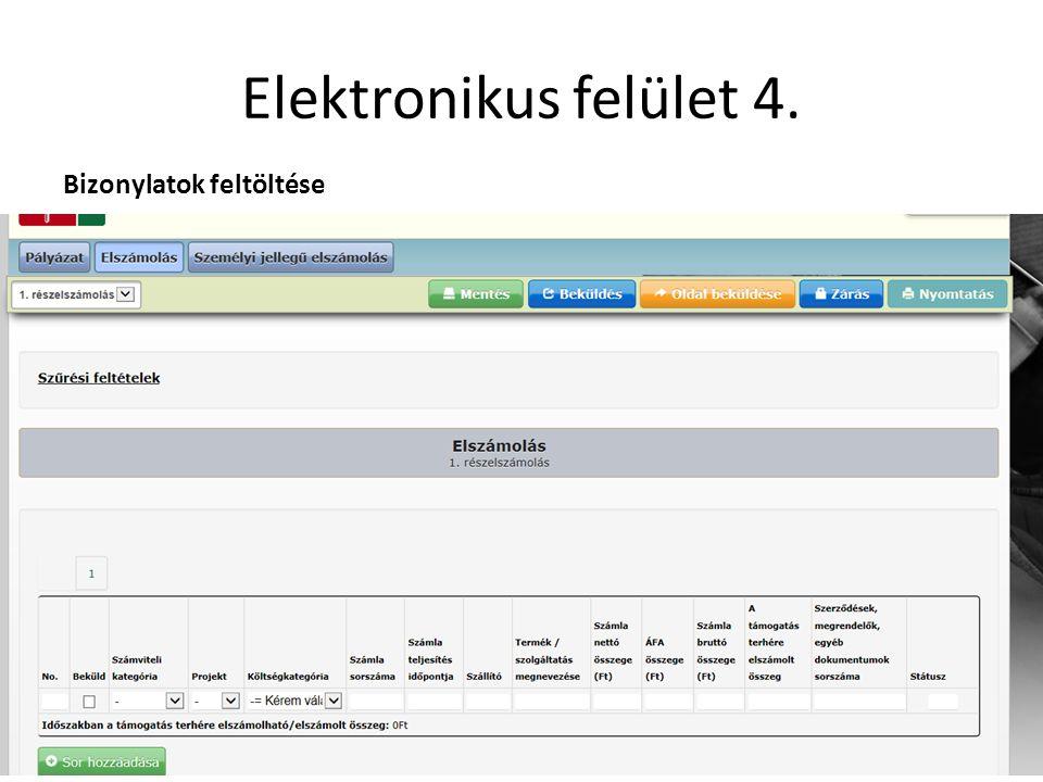 Elektronikus felület 4. Bizonylatok feltöltése
