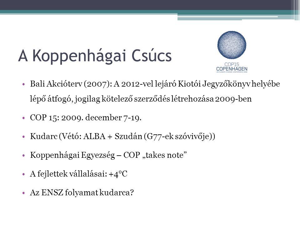 A Koppenhágai Csúcs •Bali Akcióterv (2007): A 2012-vel lejáró Kiotói Jegyzőkönyv helyébe lépő átfogó, jogilag kötelező szerződés létrehozása 2009-ben •COP 15: 2009.