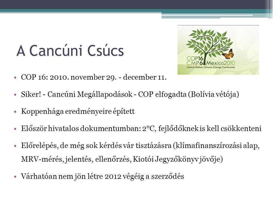 A Cancúni Csúcs •COP 16: 2010. november 29. - december 11. •Siker! - Cancúni Megállapodások - COP elfogadta (Bolívia vétója) •Koppenhága eredményeire