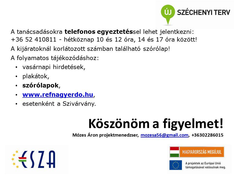 A tanácsadásokra telefonos egyeztetéssel lehet jelentkezni: +36 52 410811 - hétköznap 10 és 12 óra, 14 és 17 óra között! A kijáratoknál korlátozott sz