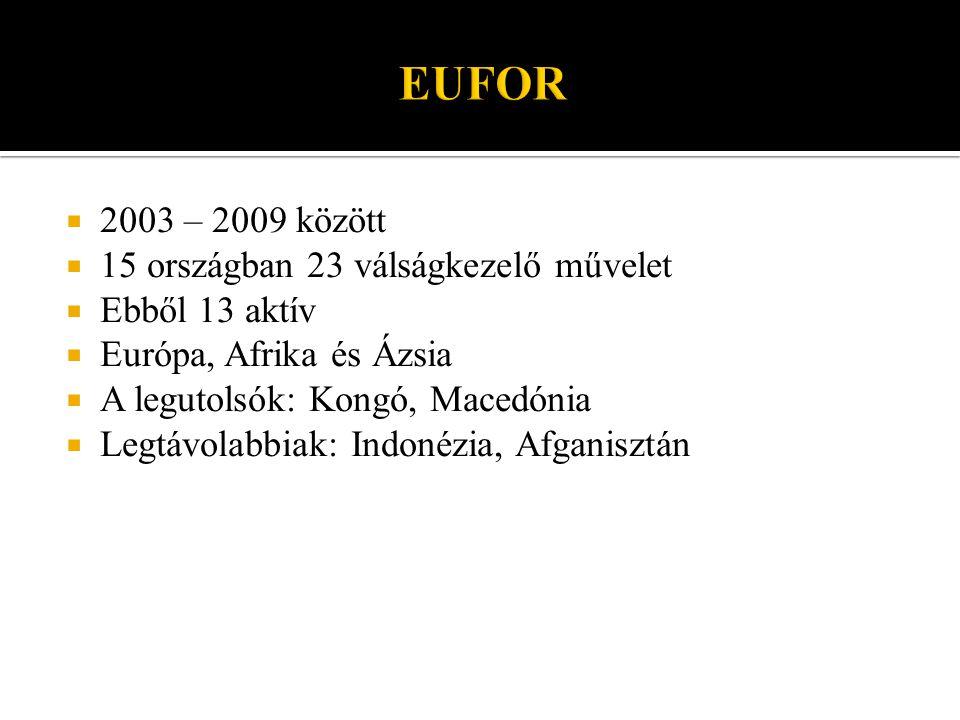  2003 – 2009 között  15 országban 23 válságkezelő művelet  Ebből 13 aktív  Európa, Afrika és Ázsia  A legutolsók: Kongó, Macedónia  Legtávolabbiak: Indonézia, Afganisztán